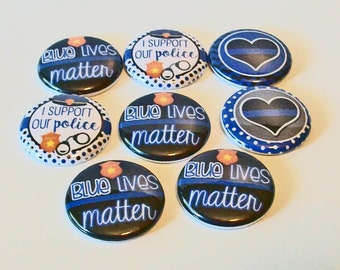 Set of 8 Support Our Police 1 Inch Flat Back Embellishments Buttons Flair