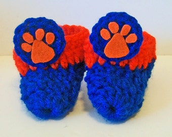 Adorable Blue and Orange Tiger Paw Print Hand Crocheted Baby Bootie Shoes Great Photo Prop Matching Hat & Bib Also Available