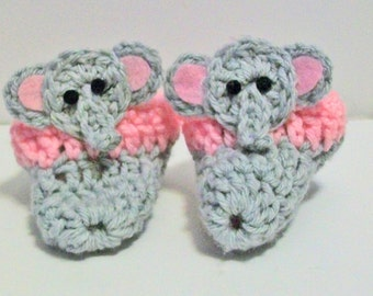 Adorable Pink and Gray Elephant Hand Crocheted Baby Bootie Shoes Great Photo Prop Matching Hat & Bib Also Available