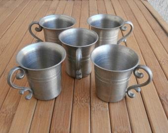 Vintage Set of 5 Pure Pewter Shot Cups, 92% Rein Zinn Schnaps Tassen, Art Etain Pur, All Marks