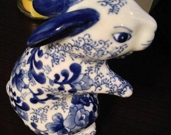 ON SALE - Cobalt Blue and White Porcelain Rabbit with a Floral Design
