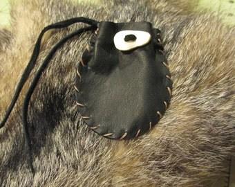 "Drawstring Leather Pouch  2.5"" x 3"" in Black or Dark Brown Deerskin"