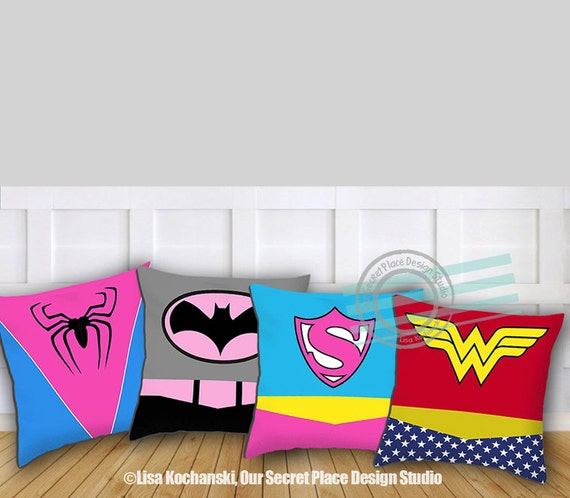 Girls Superhero Pillow Superhero Throw Pillow Girls Superhero
