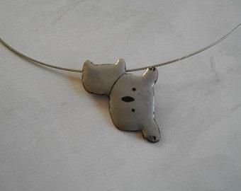 Enamel on copper- gray and black pendant- little koala-handmade by Les z'émaux