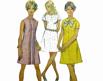 Vintage 60s Dress Patterns for Women / 1960s A Line Shift Dress Pattern Mini Dress Pattern / Simplicity 8189 Bust 34 Vintage Sewing Patterns