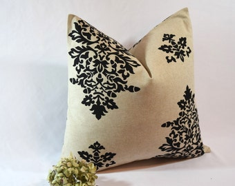 CLEARANCE SALE 75% OFF! Black and Cream Damask Pillow Cover, Large Throw Pillow, Damask Pillow Cover
