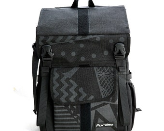 Black 1000D Cordura nylon with Geometric pattern, Wally pro messenger backpack, bike messenger,cycling bag,waterproof,durable,Fordma,courier