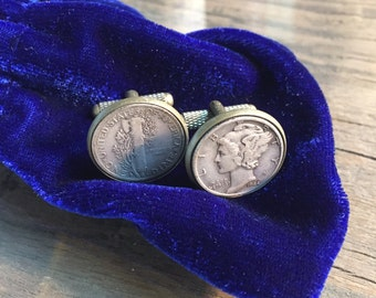 1944 Heads and Tails Mercury Dime Cufflinks - Free Shipping in US