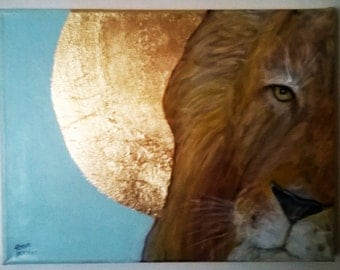 Original Lion Painting with Gold Leaf Halo and gold blocked edges