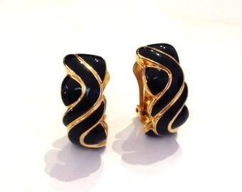 Vintage Soleil Gold Tone Black Enamel Swirl Clip Earrings Signed