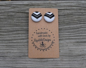 Fabric Covered Button Earrings, Black and White Chevron