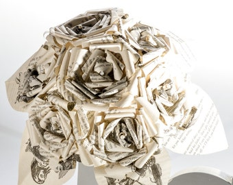 Custom Paper Rose Bridal Book Bouquet by  Fictional Flower, for Bibliophile, geek chic, alternative & gothic brides. Choose your own book.