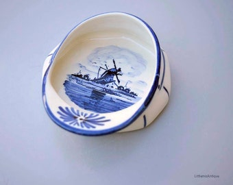 Vintage Hand Painted Delft Blue Holland Dutch Blue and White Windmill Decor Small Souvenir Hat Cap Pin Dish Ashtray