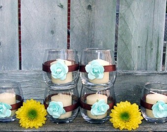 Turquoise and Brown Wedding Decor / Country Western Wedding / Votive Candle Holder / Autumn Wedding / Rustic Wedding / Baby Shower Decor /6