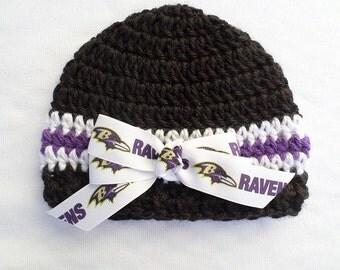 Baby Hat, Baltimore Ravens, Hand Crochet, sizes Newborn or 3-6 months