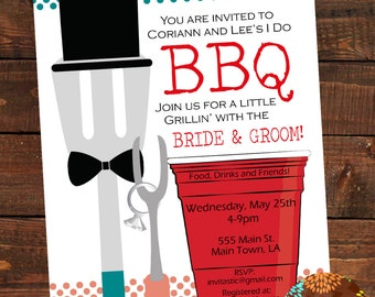 I Do Barbeque  Shower Invitation- Wedding Shower invite-BBQ couples shower invitaiton-I Do BBQ invite-BBQ wedding Party-Grill with the Groom