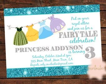 Princess Birthday Party Invitation-Princess Dress Up Party-Fairy tale Theme Birthday Party-Princess Party-Dress-up Invitation-Glitter invite