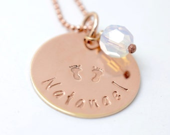 Baby Footprint Rose Gold Necklace, Gift for Mom, Mothers Day Gift, Custom Mommy Jewelry, Handstamped Birthstone Necklace, New Mommy Necklace