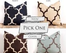 SALE ENDS SOON Quatrefoil Handmade Pillow Case, Designer Cotton Pillow Cases, Sofa Cushion Cover, 16 x 16