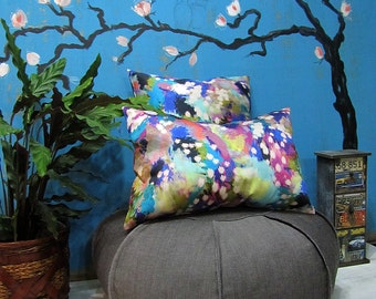 Fast shipping/Abstract  Pattern Print  Denim Pillow Cover Set /Cheerful Home Decor/Housewarming Gift/Set of two pieces