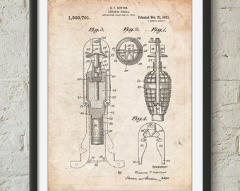 Explosive Missile Patent Poster, Military Gift, Science Print, Gun Enthusiast, Armory, Firearm, PP0012
