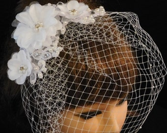 Birdcage veil with top  comb,  Blusher veil, French net Russian Net Veil.Wedding, Bridal comb. Lace, pearls,,Crystal bridal clip