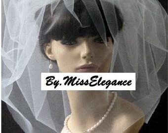 Blusher veil Double layer Tulle birdcage veil Plain, Pearls or diamonte around edge or Scattered pearls or Scattered Diamonte with Top comb.