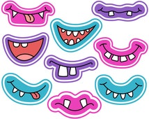 Girly Monster Grins Digital Clip Art, Cute Monster Smiles, Girlish Monster Faces, Printable Photo Booth Props - Instant Download - YDC139