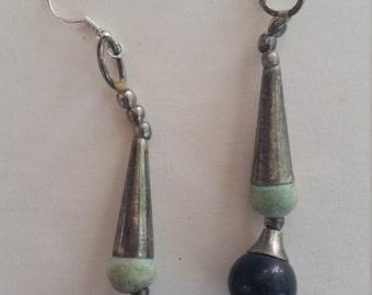 Upcycled tribal earrings silver metal cones silvertone shepherd hooks