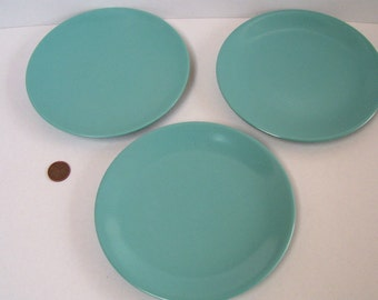 3 Melmac Side Plates Pastel Turquoise 5.75 inches Canada Vintage MId Century