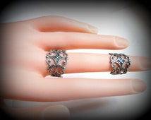 Antique silver Filigree Double Ring-Knuckle Ring-Adjustable Ring-Armor ring-gothic ring-one size-set of 2