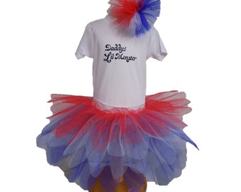 Daddy's Lil Monster Little Harley Quinn Inspired T-Shirt Vest Tutu Halloween Party