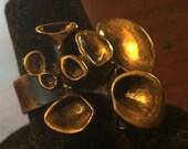 Hannu Ikonen Reindeer Moss Ring - Solid Bronze - Vintage Finland Modernist Scandinavian - Renmoosblüte - Iceland Moss