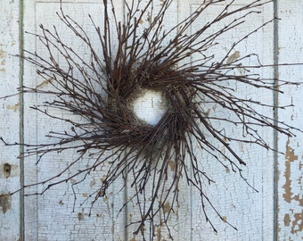 Natural Birch Simple Twig Wreath - 20""