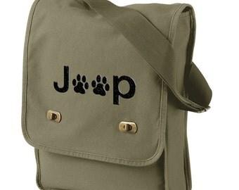 Jeep Paws Canvas Messenger Bag