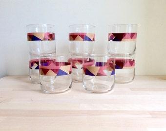Vintage Geometric Libbey Drinking Glasses
