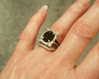 14k white gold onyx and diamond ring and platinum diamond ring free us shipping - Onyx Wedding Ring