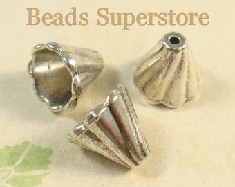 4 Sterling Silver 925 Plain Flower Bud Bead Caps End Cap