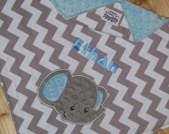 Elephant-Custom Monogrammed Minky Baby Blanket with Embroidered Elephant- Grey Chevron