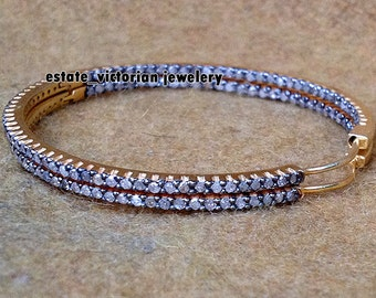 Vintage Estate 3.05ct Pave Rose Cut Diamond Jewelry 925 Sterling Silver Gorgeous Hoops Earring