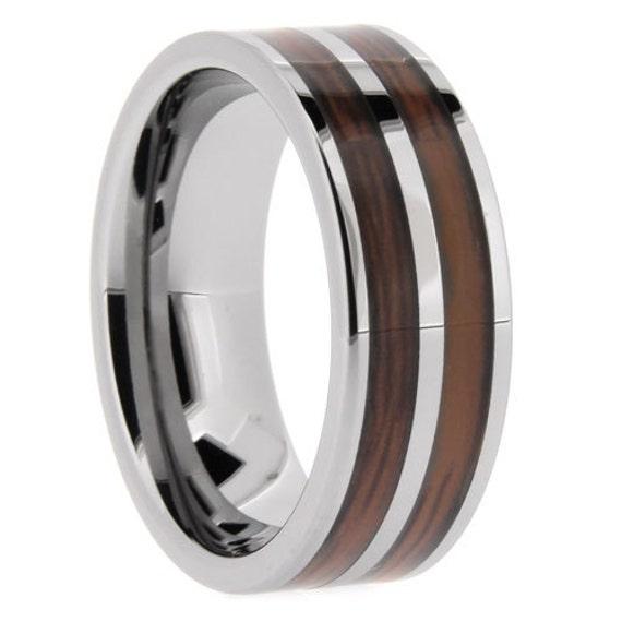 mens ring wood inlay polished mens wedding band anniversary