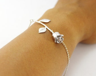 Rose bracelet,Floral Bracelet,Silver Rose Bracelet,Gold Rose Bracelet,rose flower Bracelet,Gifts for Her,Bridesmaid Bracelet,Floral Jewelry