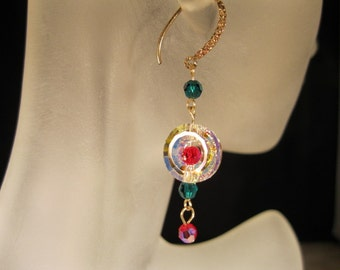 Red, green, crystal and gold earrings