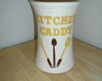 Vintage Kitchen Tool Caddy Speckled Ceramic Glaze
