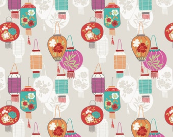 Minshan A120-1 Lanterns on natural Lewis & Irene Patchwork Quilting Fabric