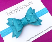 Baby/Girls Turquoise Leather Bow, Blue Leather Bow, Blue Leather Headband/Clip, Turquoise Headband, Summer Bows, Unique Bows, Ruby Lovely