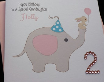 Personalised Handmade Elephant Birthday Card / 1st 2nd 3rd 4th 4th