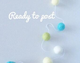 felt ball garlands, gorgeous garlands, fun colours, pastel, bright, natural, kids rooms, nursery, homedecor