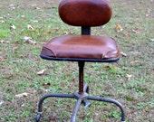 SALE Vintage Desk Chair Metal Cramer Brown Vinyl Rolling Swivel Adjustable Modern Design Panchosporch