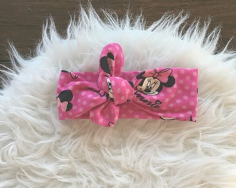 Minnie Mouse Headband, Minnie Mouse, knot Headband, Knot Head Wrap,Turban Head Wrap, Infant Headband, Toddler Headband, Adult Headband